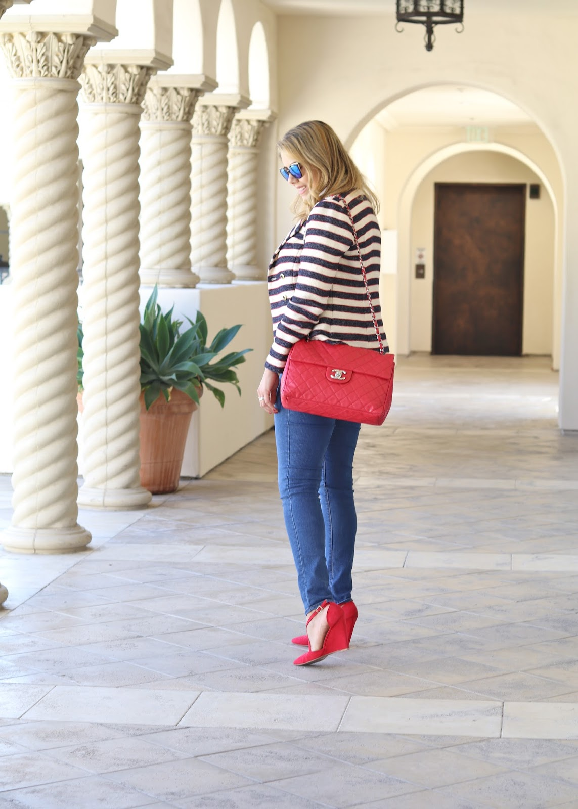 How to wear a red chanel handbag, cabi cruise jacket, cabi blogger