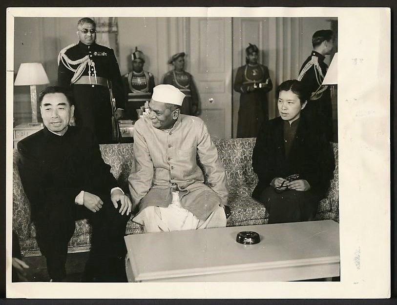 Chinese Leader Zhou Enlai (Chou En-lai) with Indian President Rajendra Prasad - 1956