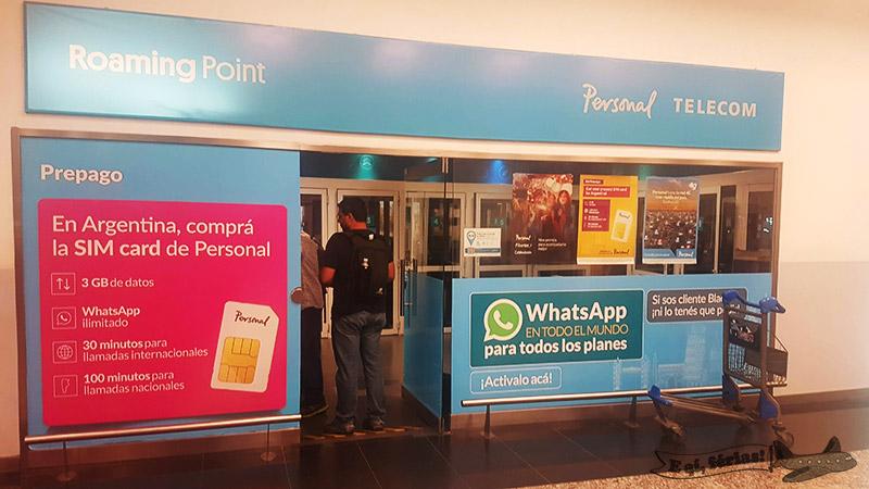 Ponto de venda de chip da Personal Telecom no Aeroparque.