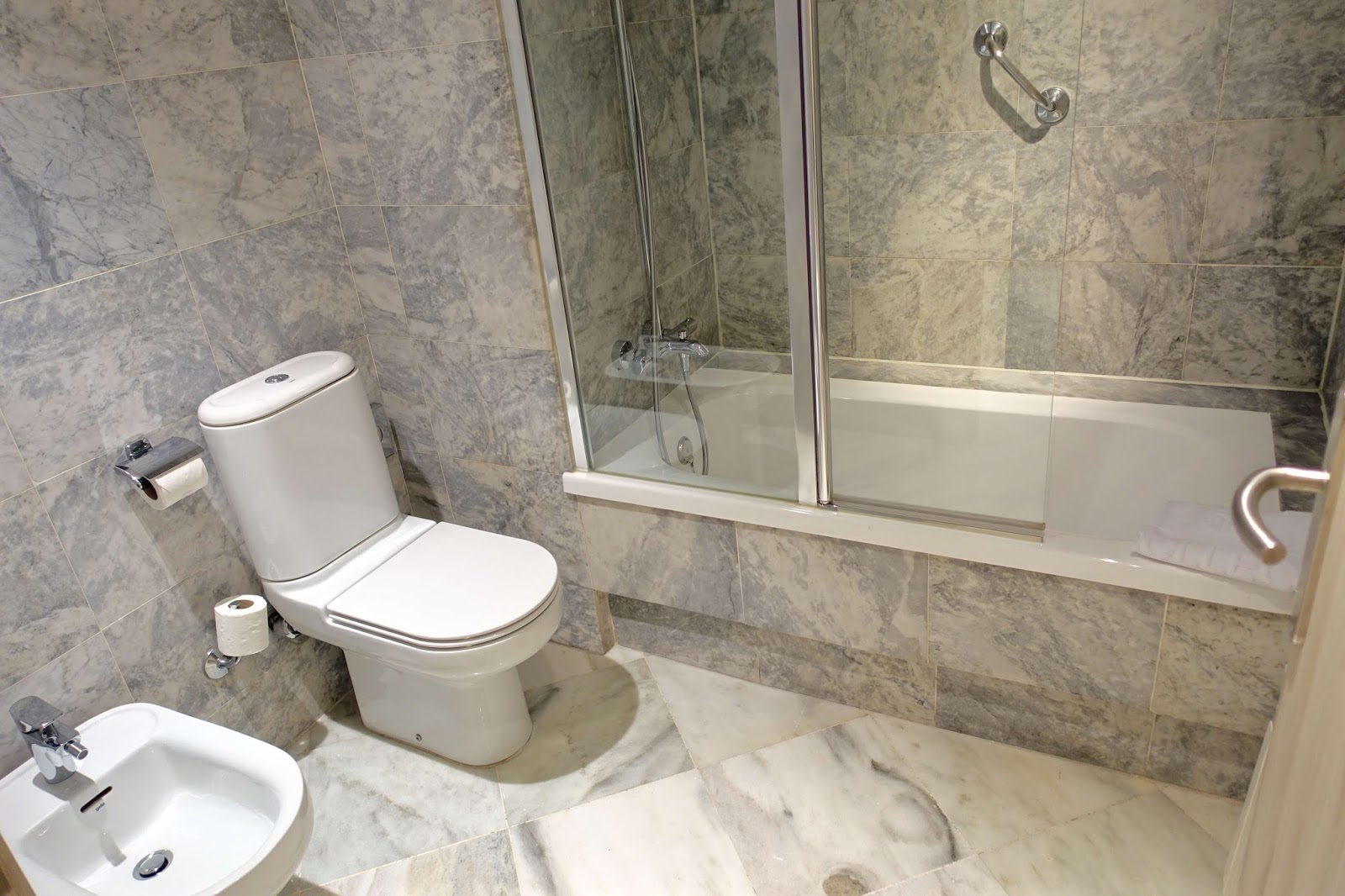 marble bathroom at NH collection podium Barcelona hotel