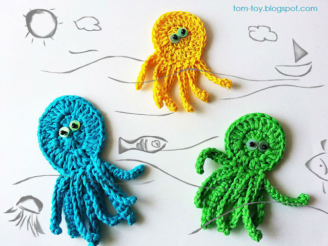 Crochet sea appliques kids clothing embellishment