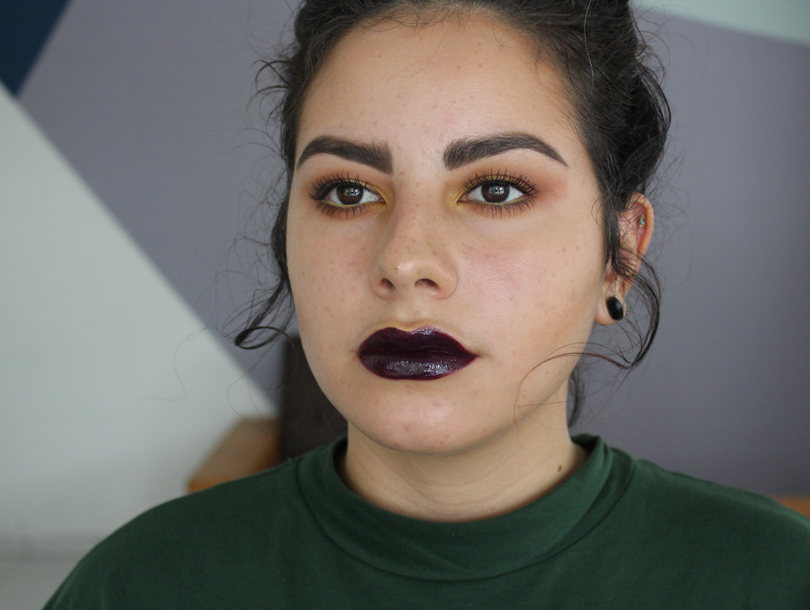 vampy dark glossy lips nightmoth plum nyx intense butter gloss black cherry tart yellow canary stila eyes makeup look
