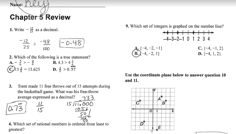 Grade 6 Math with Ms  Eringis : ANSWER KEY FOR REVIEW SHEET