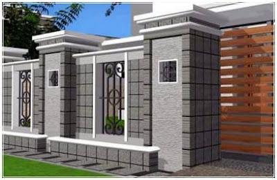 model pagar tembok dengan batu alam