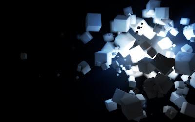 Cuadrados en 3D sobre fondo oscuro y luz