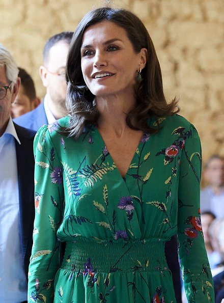 Queen Letizia wore a flower print asymmetric silk midi dress by Maje Paris. International School of Music of Princess of Asturias Foundation