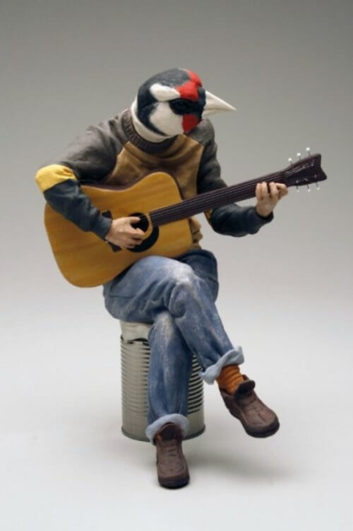 08-Bird-Guitarist-Alessandro-Gallo-Clay-Sculptures-of-Human-Animal-Hybrids-www-designstack-co