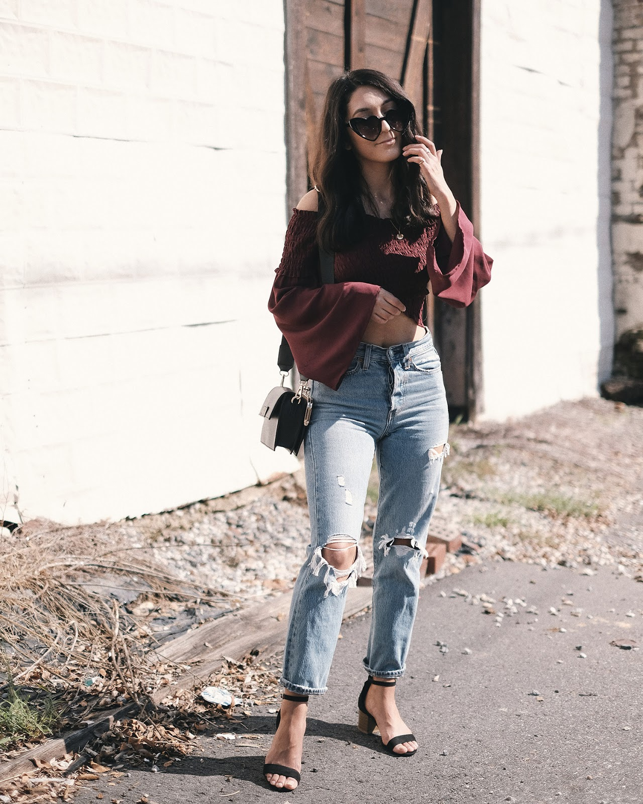 heart eye sunglasses, rue21 off the shoulder top, melie bianco judy bag, levis wedgie fit authentically yours