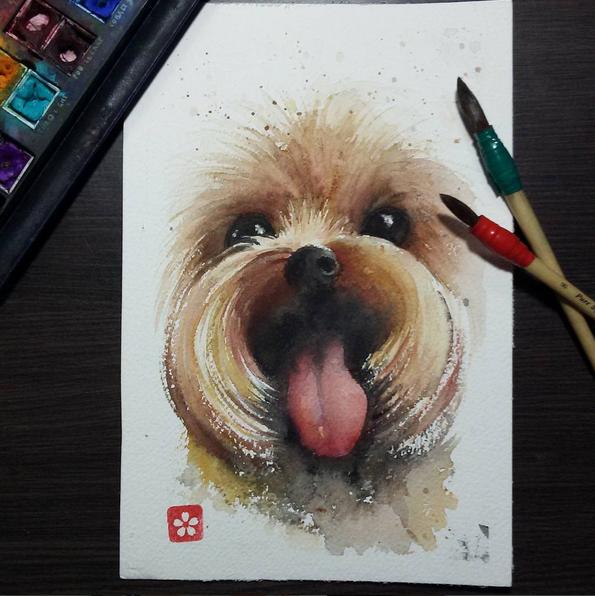 Ilustração em aquarela de um cachorro yorkshine terrier.