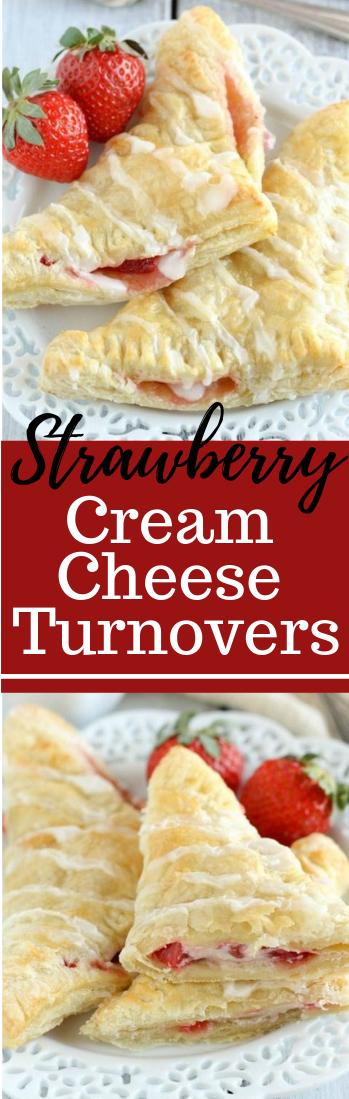 STRAWBERRY CREAM CHEESE TURNOVERS #dessert