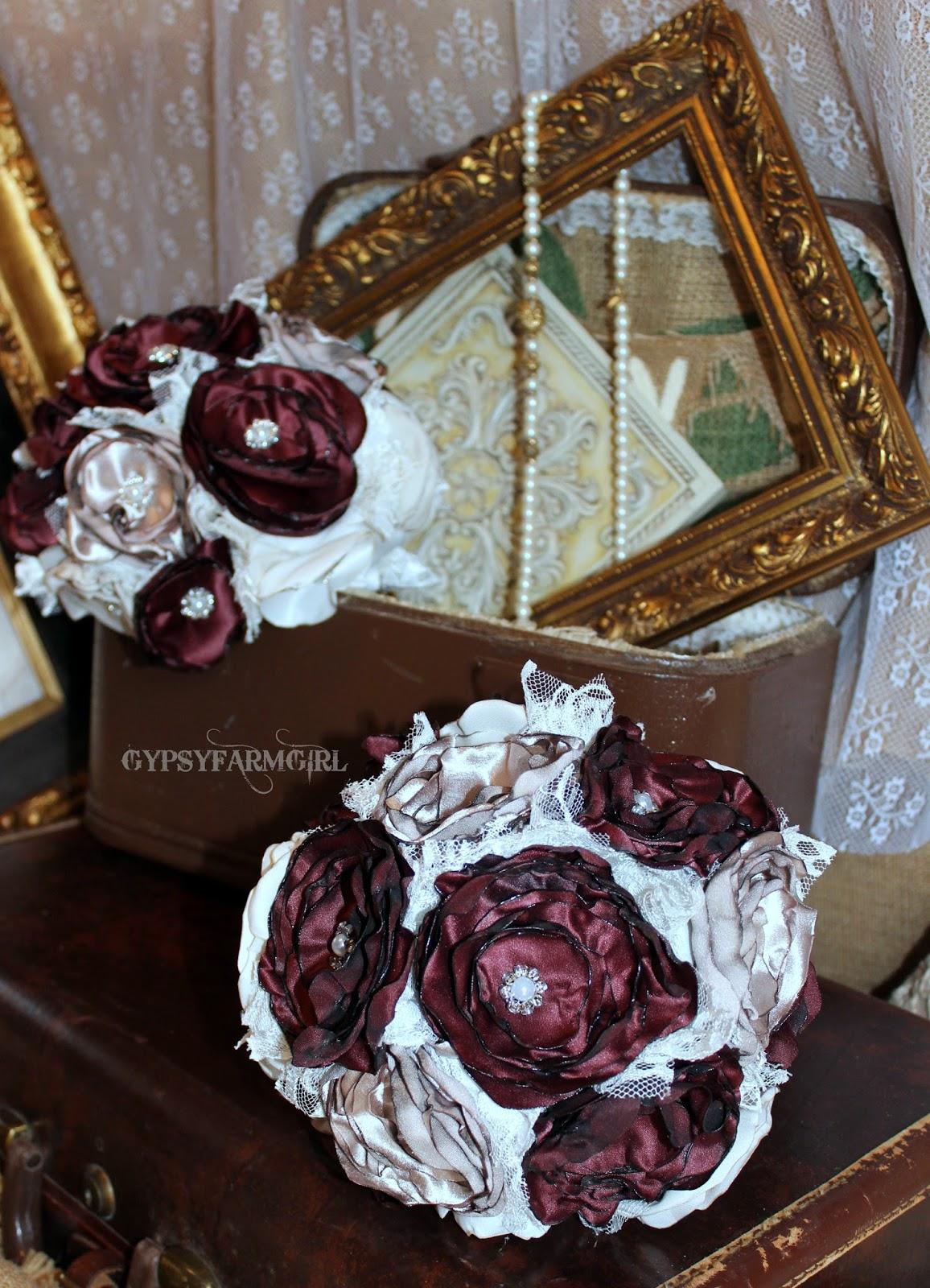 Gypsyfarmgirl vintage glam satin fabric wedding bouquets satin bridesmaid bouquet izmirmasajfo
