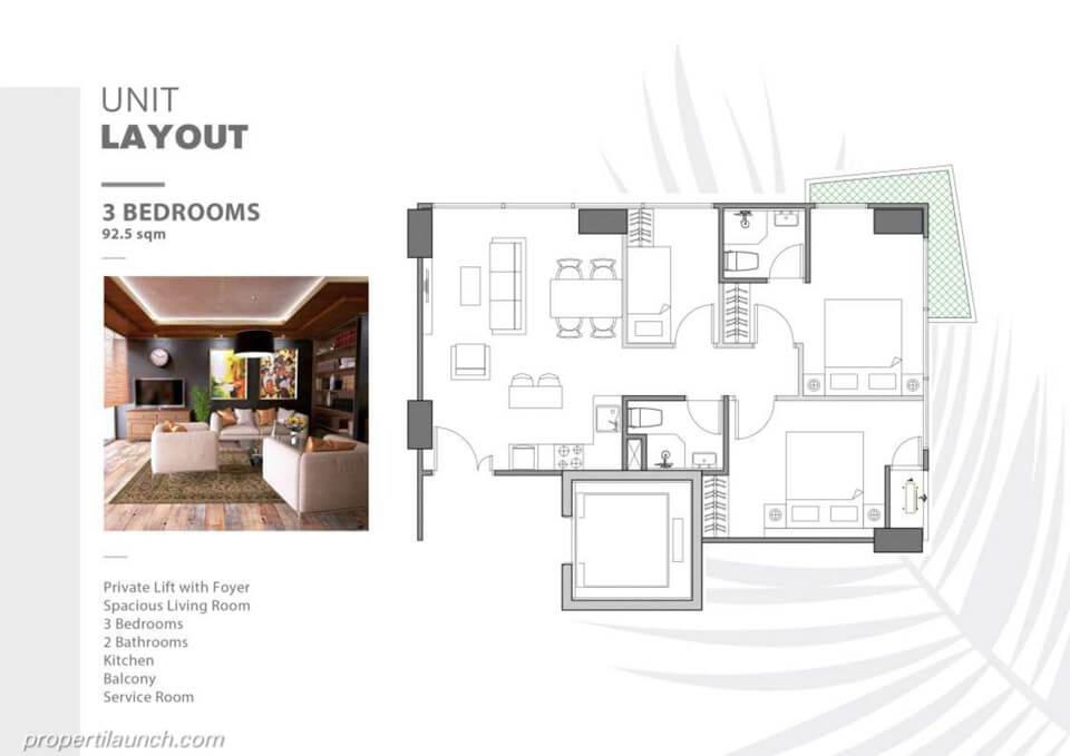 Unit Layout Apartemen The Burj Alam Sutera tipe 3 BR