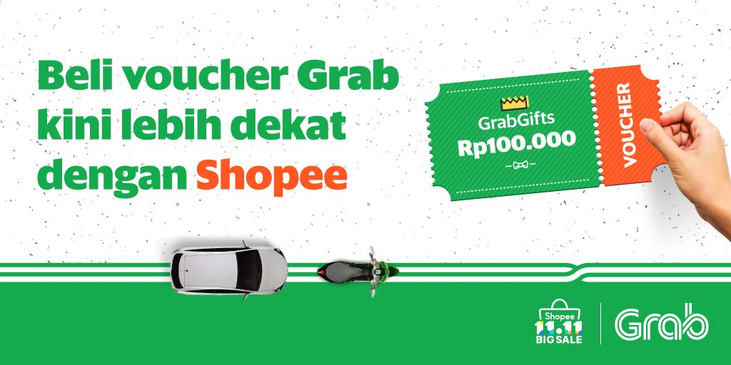 Grab - Promo Beli Voucher di Shopee & Cashback 20% + Ektra 15% Khusus 8 Nov 2018