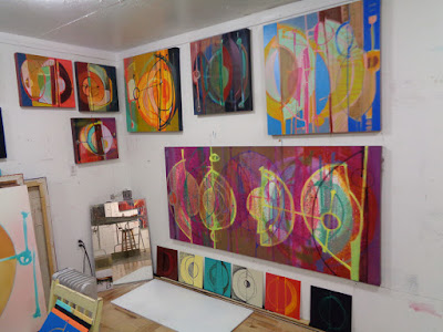 verna vogel augury series oil paintings bright colours blind drawings musical influence