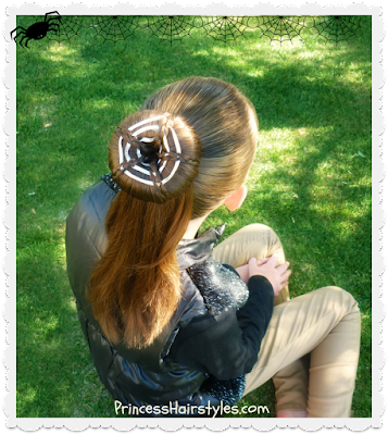 Halloween hairstyle. Spider web bun ponytail. Video tutorial.
