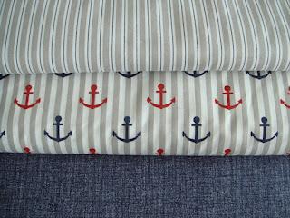 Námornické bavlnené látky béžové a modré