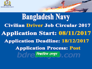 Bangladesh Navy Civilian Motor Driver (MTD) Job Circular 2017