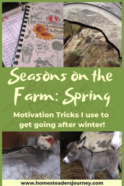Seasons and the farm! Its spring and I'm excited but sometimes my mind is more excited about spring farm work than my body! So here are some motivational tips and tricks I use to get my body and mind both motivated to get to work! #homesteader #homestead #farmseason