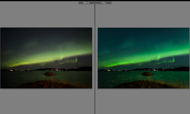 Northern lights - before and after post processing in Lightroom