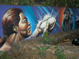 Mural on wall of once-empty lot in Waikiki