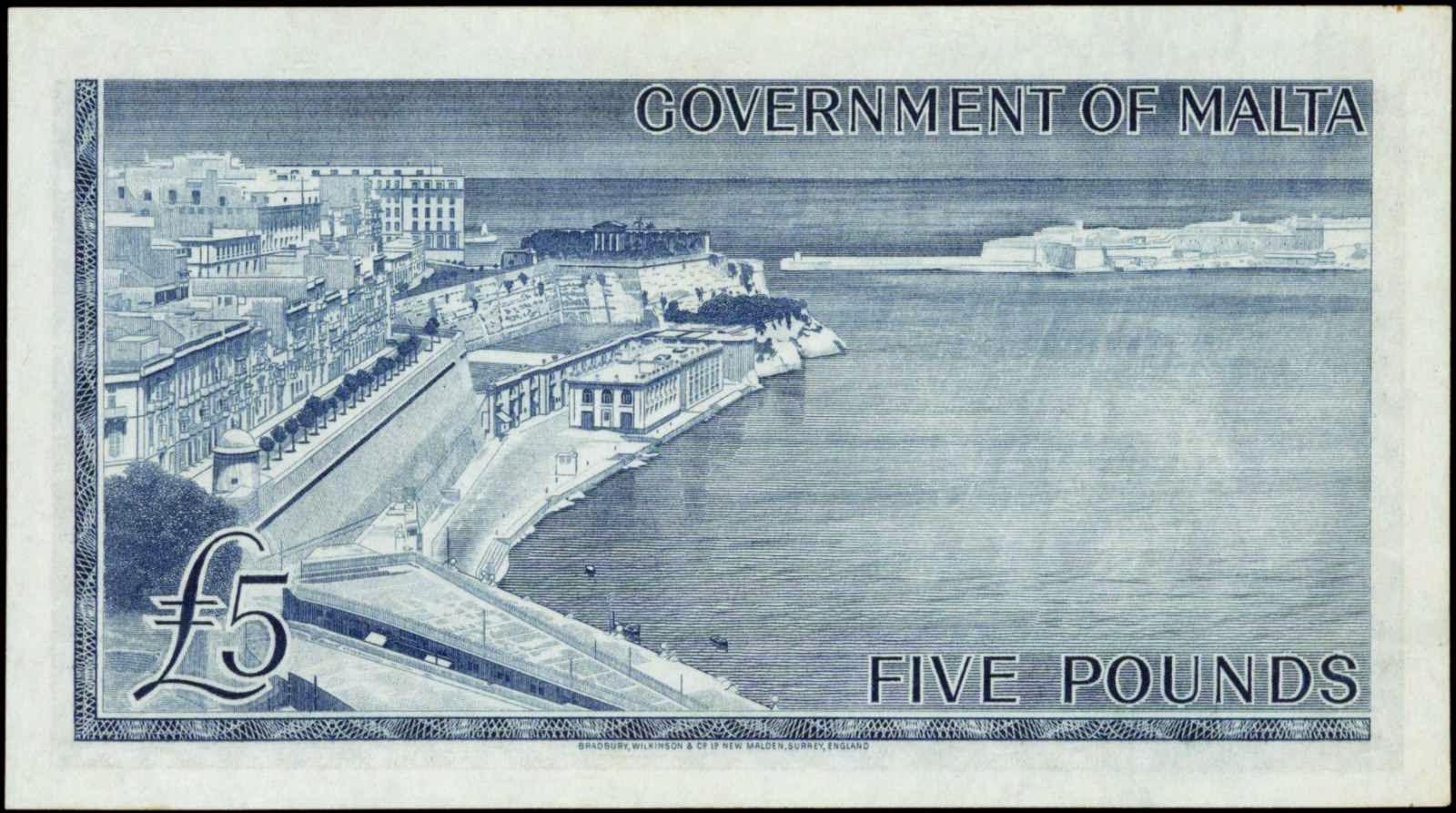 Malta 5 Pounds Banknote Grand Harbour, La Valletta