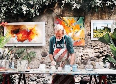 Técnica pintura abstracta con tintas, alcohol y a veces fuego