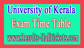 University of Kerala M.Phil Zoology Viva-Voce 2016 Exam Time Table