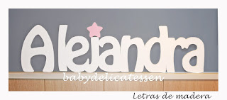 letras de madera infantiles para pared Alejandra con silueta de estrella babydelicatessen