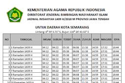 Jadwal Imsakiyah Ramadhan 2018M / 1439H Untuk Wilayah Jawa Tengah dan Sekitarnya