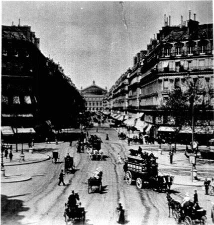 Imagen estereoscópica de la Avenida de la Ópera de París.