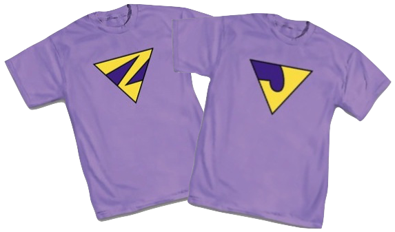 A pair of T-shirts, each with one of the Wonder Twins' triangular insignia, 'Z' and 'J'