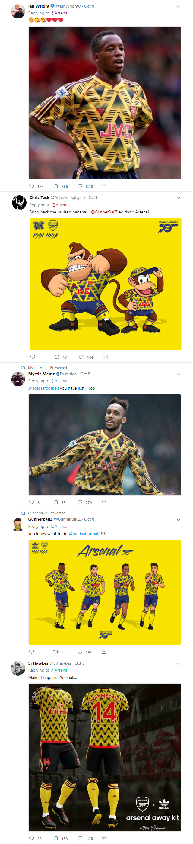 Arsenal fans demand the return of the iconic 'Bruised Banana' kit after new partnership with adidas