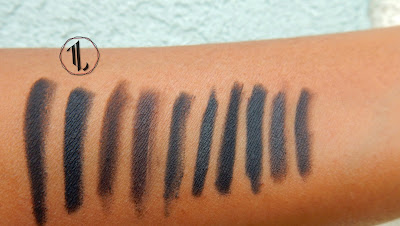 Pencil Eyeliner stash swatches (black) - www.modenmakeup.com