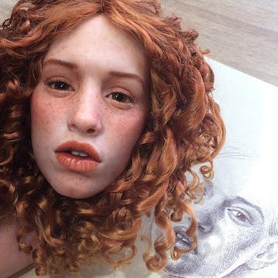 Rostro de muñeca hecha de arcilla polimerica