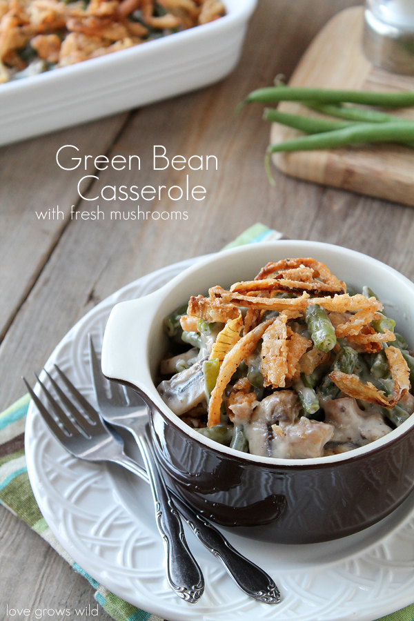 The BEST Green Bean Casserole with fresh green beans, mushrooms, and delicious homemade crispy onion strings! You'll love this perfect Thanksgiving side dish!