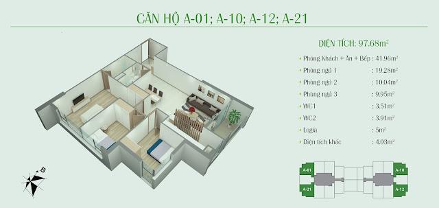 Thiết kế căn hộ 3 ngủ: 97,68m2