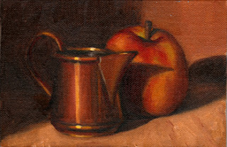 Oil painting of a small copper jug beside a slightly yellowed apple.