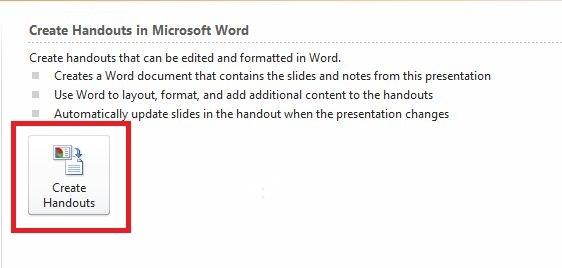 Kemudian akan nampak tulisan Create Handouts in Microsoft Word, Sobat tinggal klik Create Handouts.