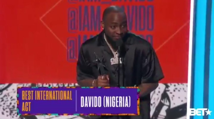 Davido Wins BET International Acts 2018