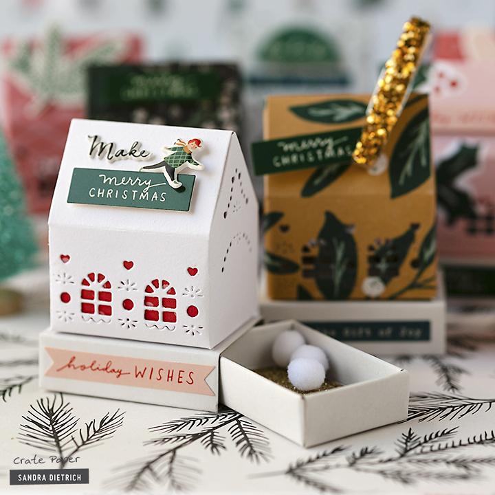 Crate Paper Christmas Decor Houses with the Merry Days Collection