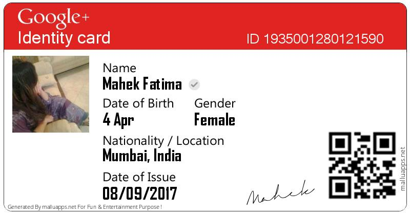 google plus identity card generator