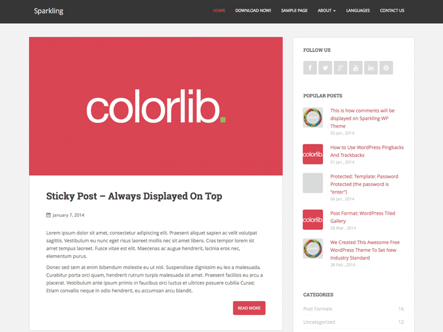 Sparkling - free blogging WordPress theme