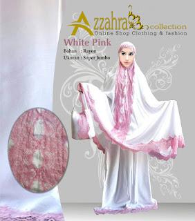 Telekung : Mukena Bali Azzahra  Renda pink