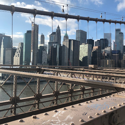 The view looking back from Brooklyn Bridge