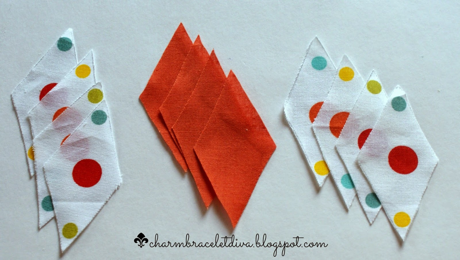 polka dot and solid orange fabric diamond shape