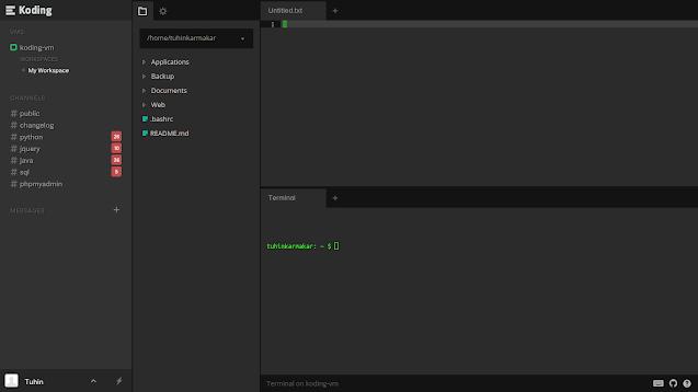 Screenshot of Koding's IDE