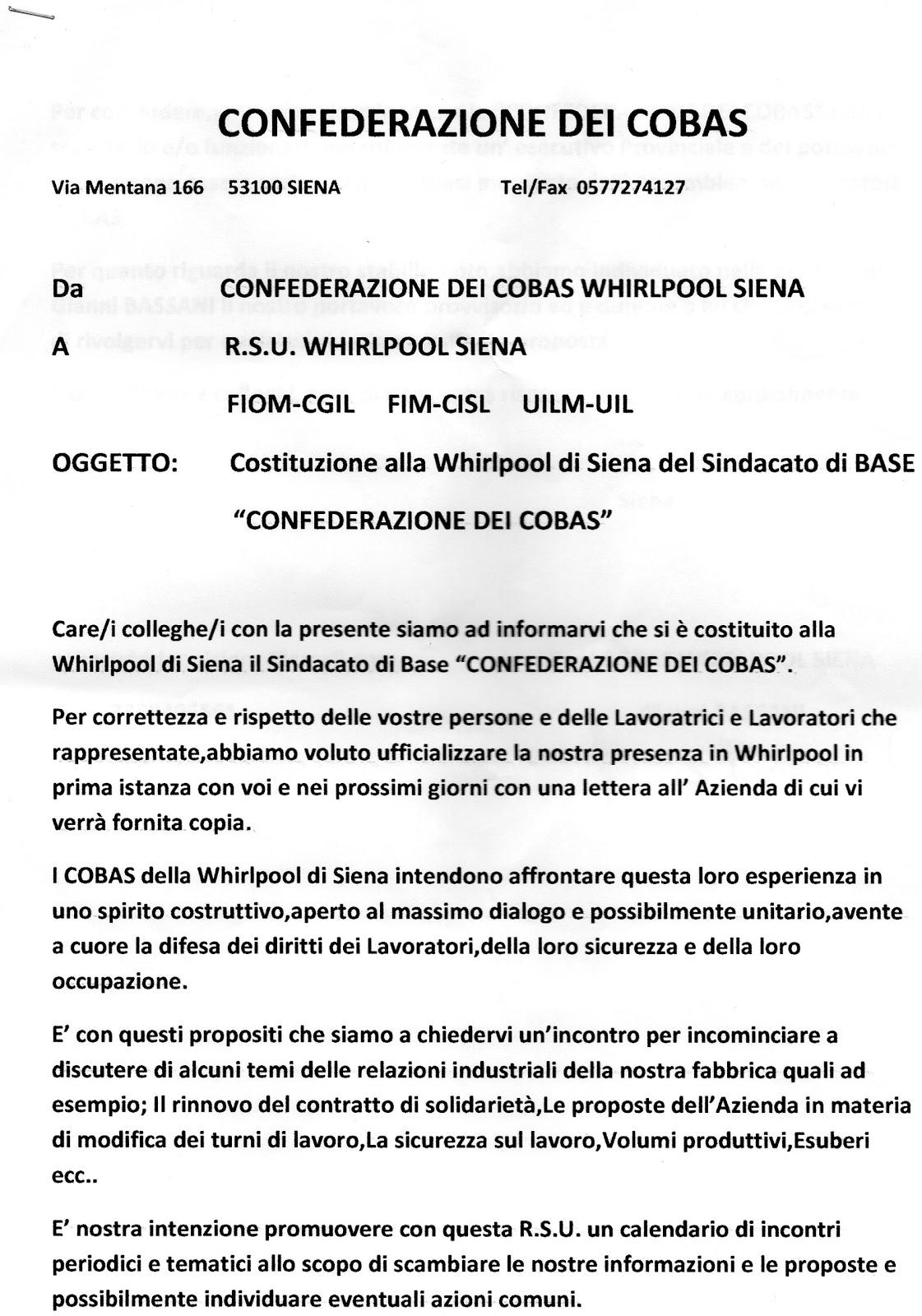 Cobas Lavoro Privato Whirlpool Siena Lettera Ufficiale Di