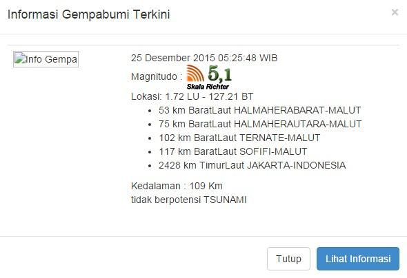 Gempa bumi Halmahera barat hari ini 25 desember 2015 ...