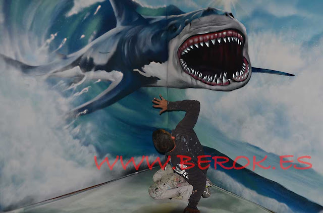 graffiti en 3d de tiburón blanco