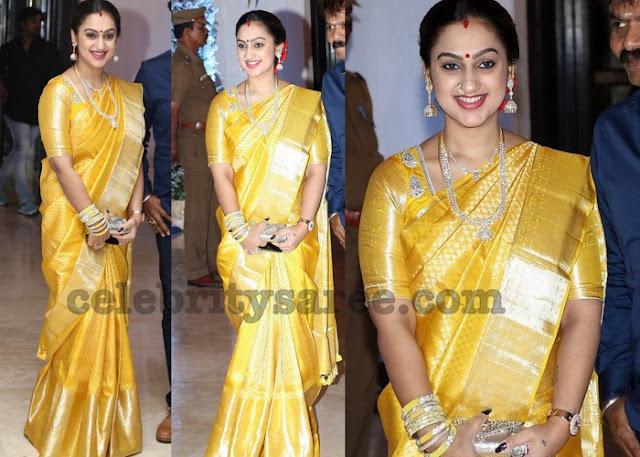 Preeta Vijaykumar Mustard Benaras Saree